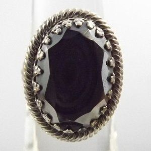 Vintage Hematite and 925 Silver Ring Size 5.5